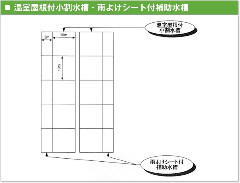 温室屋根付小割水槽・雨よけシート付補助水槽